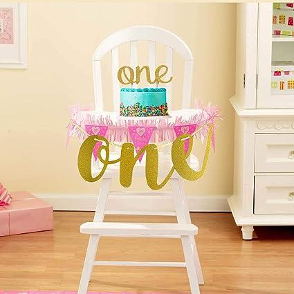 Amazon Com Lqsmile 1st First Birthday Decoration For Baby Girl Boy