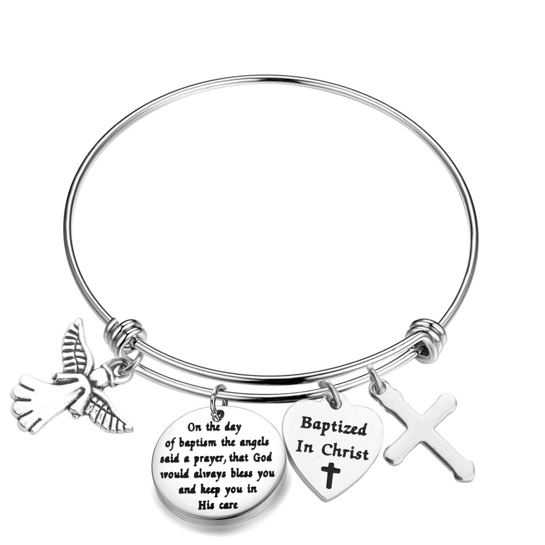 MYOSPARK Baptism Gift On The Day of Baptized The Angels Said A Prayer Cross Bracelet Religious Gift for Family Friends (Baptized in Christ Bracelet)
