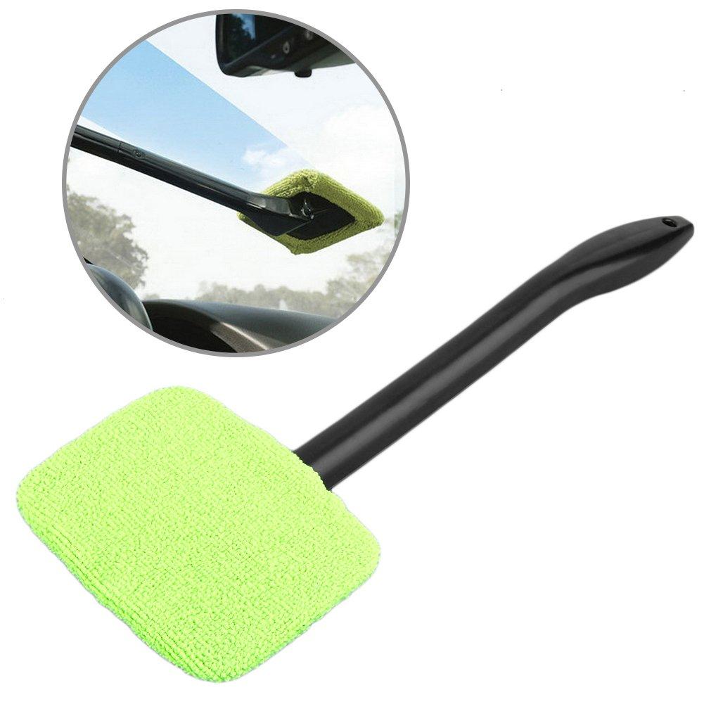 Tianu Handheld Green Windshield Easy Cleaner Tool Microfiber wipe Car Home Window Washable Microfiber Pad Home Windows, Shower Screen, Glass Mirrors, Washable Microfiber Pad U1926V0J7GFY36S70NQ
