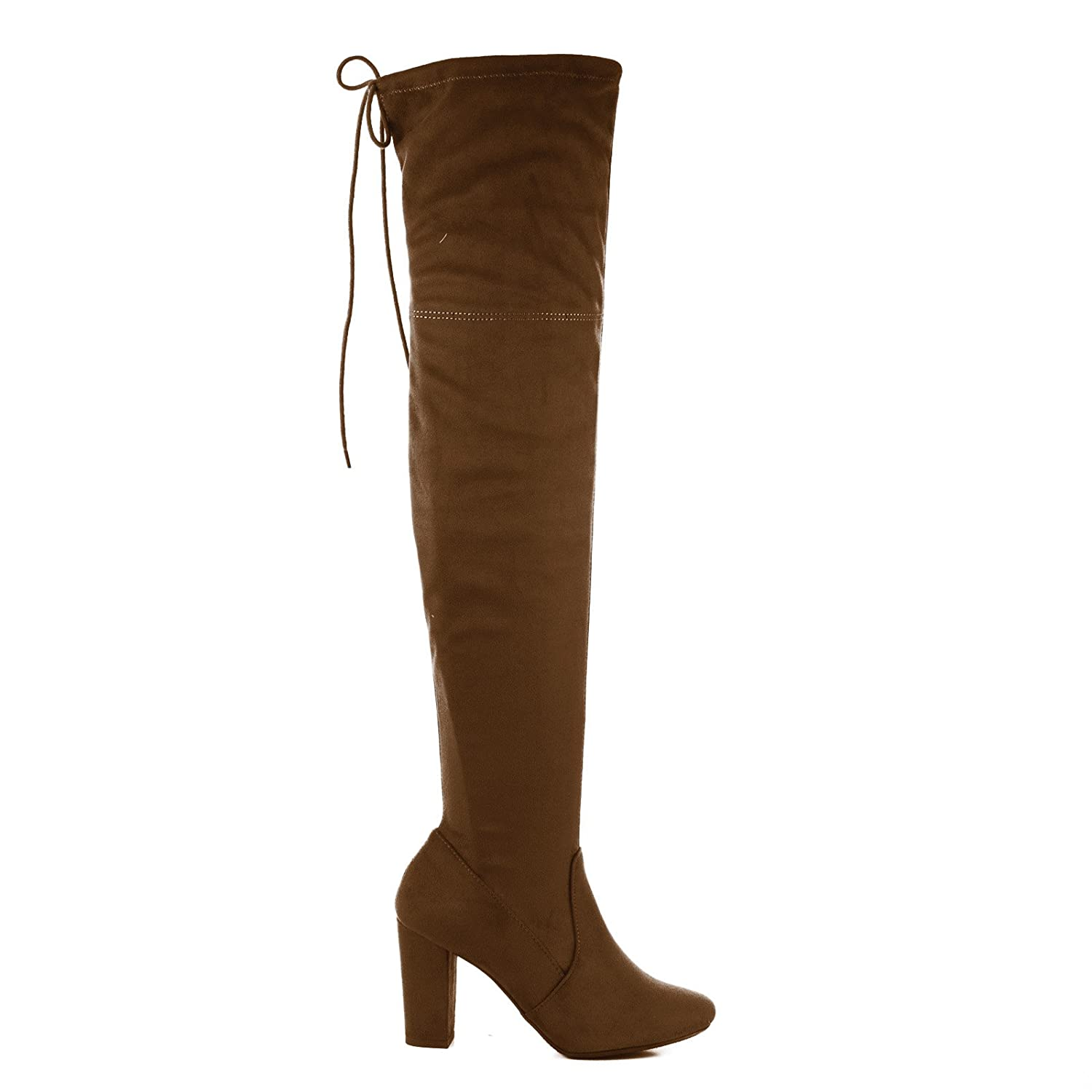 Snivy Cognac OTK Over The Knee Thigh High Slouchy Boots w/ Back Lace Tie & Block Heel -9