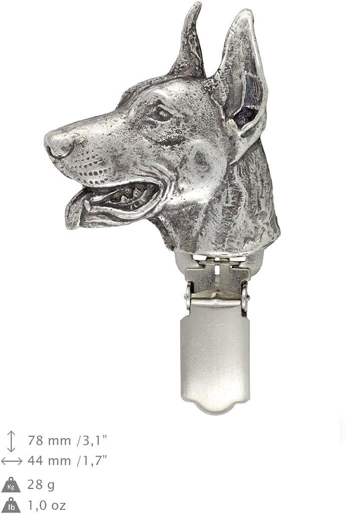 Dobermann Dog Keyring Elegance Set Limited Edition ArtDog Necklace and clipring in Casket