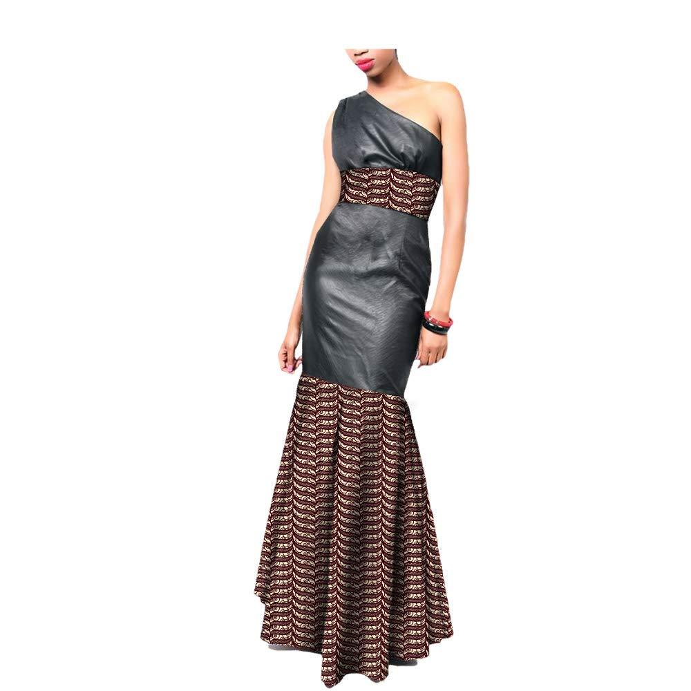 1685j African Ankara Print OneShoulder Sleeveless AnkleLength Women Sexy Trumpet Dress 100% Batik Cotton Made AA7225136