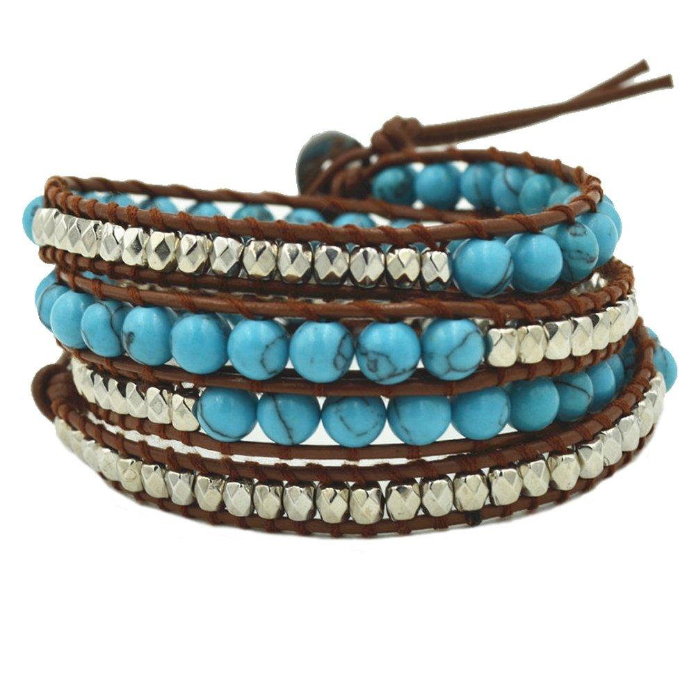 RareLove Handmade Faux Leather 4 Wrap Around Bead Bracelet Adjustable 6mm Blue Turquoise Stone Silver Beads