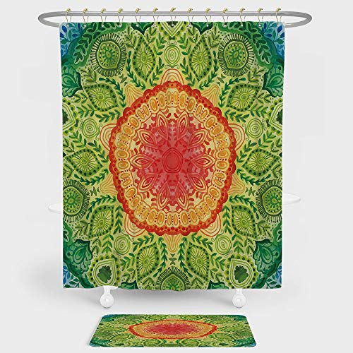 iPrint Ethnic Shower Curtain Floor Mat Combination Set Mandala Tie Dye Design Flower Children Kids Children Inspired Image decoration daily use Blue Red Yellow Green (Tie Dye Toothbrush)
