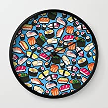 Society6 Sushi Blue Wall Clock Black Frame, Black Hands