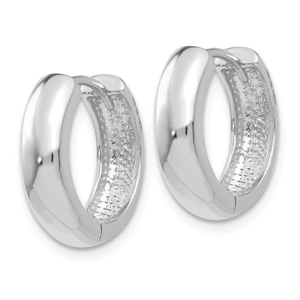 Mia Diamonds 14K White Gold Hinged Hoop Earrings