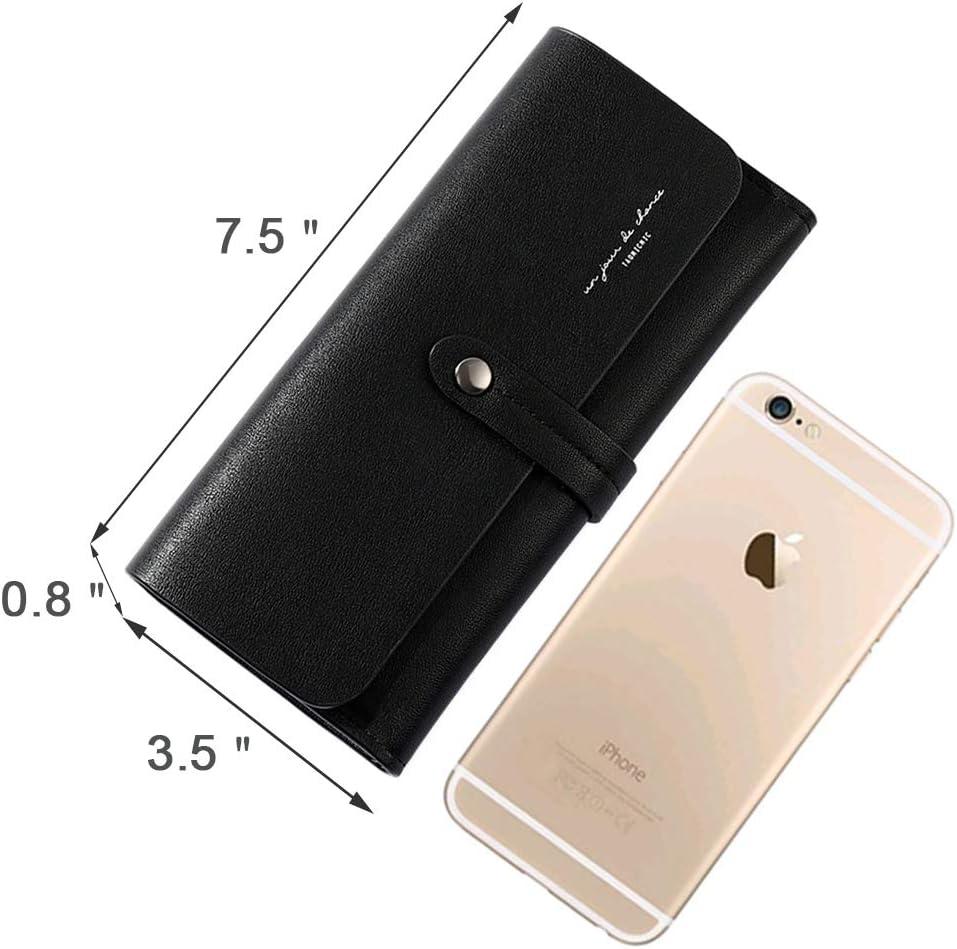 YMNHNB Great Capacity RFID Wallet for Women Double Snap Closure Long Wallet Womens Handbag with Detachable Slim Wallet Black