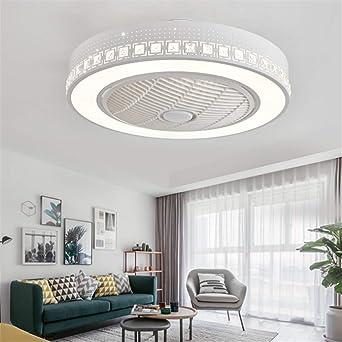 Ventilador de techo LED con mando a distancia regulable, ventilador de techo silencioso, lámpara de techo creativa para habitación infantil , moderna iluminación para salón o dormitorio Blanco -A: Amazon.es: Iluminación