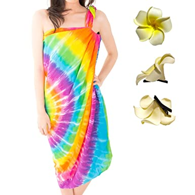 a864bc0f66 Kat   Nat Rainbow Tie Dye Sarong Swimsuit Cover-up + Plumeria Flower Hair  Clip at Amazon Women s Clothing store