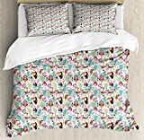 Ambesonne Tropical Queen Size Duvet Cover Set by, Exotic Birds Pattern Cartoon Style Toucan Owls and Parrots Hawaii Flora and Fauna, Decorative 3 Piece Bedding Set with 2 Pillow Shams, Multicolor