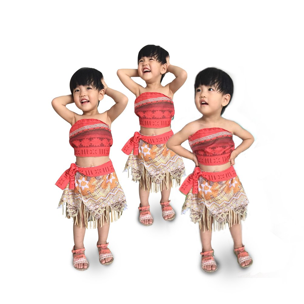 ROMASA Moana Costume Girls Adventure Outfit Cosplay Two-Piece Dress up Skirt Set (3.61ft/3-4Y)