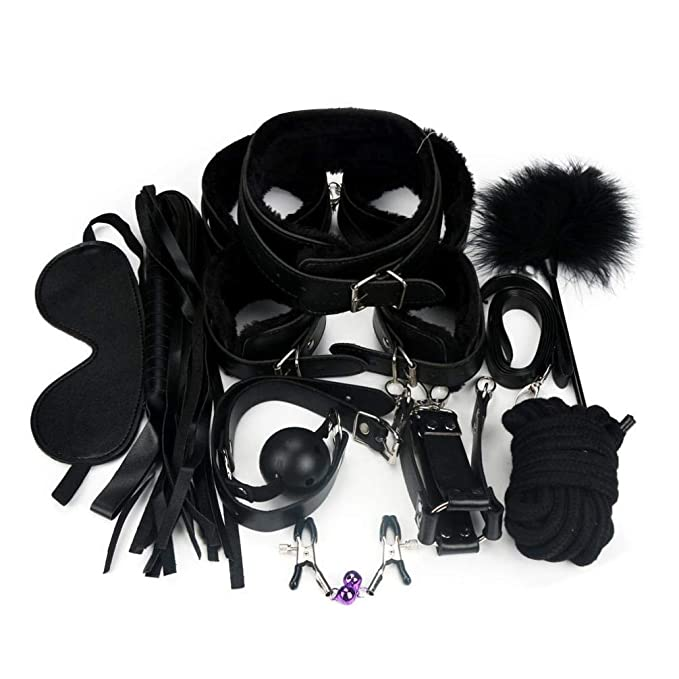 BaZhaHei-Productos para adultos de 10 Unids Bondage Restricciones Set Kit Ball Gag Cuff Whip
