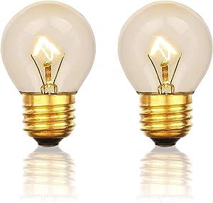 Oven Bulb, 40 Watt Appliance Bulb, Medium Brass Base E27(E26), High Temp Resistant, G45 120V Clear Glass, 2 Packs