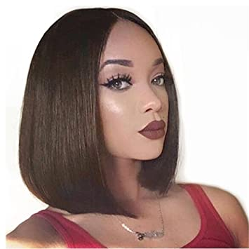 Amazon Com Short Straight Bob Wigs Middle Part Pre Plucked Human