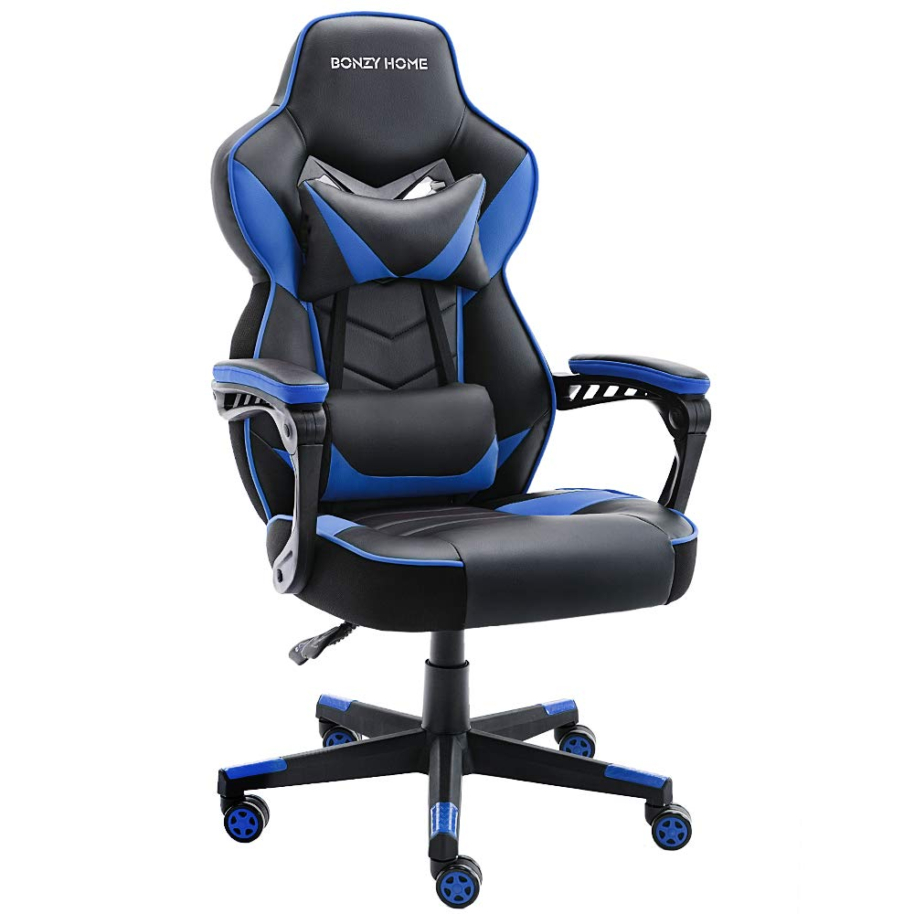 Bonzy Home Game Chair, Computer Chair with Ergonomic Backrest and Seat Design Features PU Leather and Upgrade Gas Lift Support Adjustable and Comfy Use (Black and Blue) by Bonzy Home