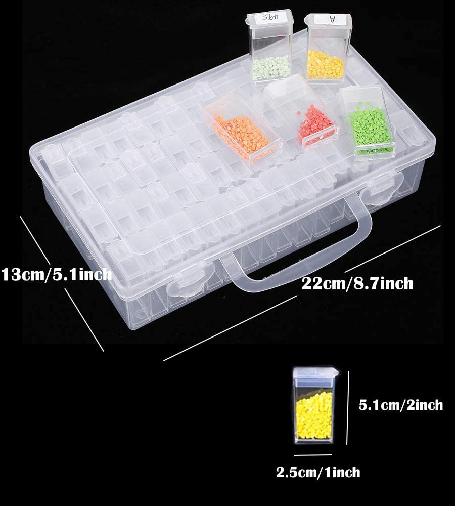 64 Grids Diamond Painting Drill Storage Container Beads Organizer Storage Case with 28 grids Plastic Box and Label