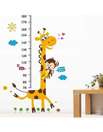 YESURPRISE Vinilo Pegatina Decorativa Infantil Adhesiva Para Pared Dibujos Animados Jirafa Mono Con Regla (Regalo