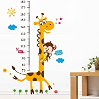 YESURPRISE New PVC Home Art Decor Mural Creative Naughty Monkey and Yellow Giraffe wall sticker for kid's bedroom cartoon animals Height Chart Nursery Removable Studyroom Sofa Wallpaper Paper House Kids Boys Girls Room Decorative DIY Decoration