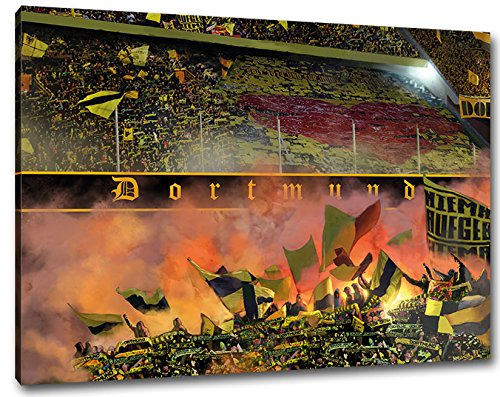 Herz von Dortmund Format  100x70, Bild auf Leinwand XL, fertig gerahmt