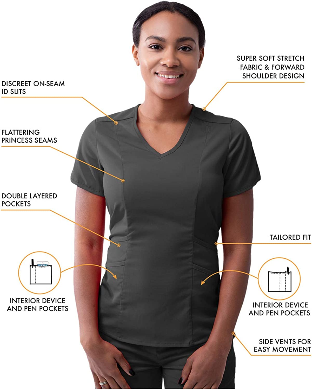 Adar Pro Tenue Aide Soignante Blouse Moderne Col en V /& Pantalon de Yoga Ajust/é