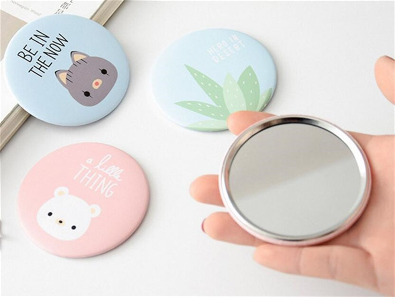Yingealy Childrens Mirror Mini Round Cartoon Goose Pattern Small Glass Mirrors Circles for Crafts Decoration Cosmetic Accessory by Yingealy (Image #6)
