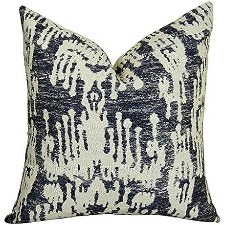 Plutus Brands Plutus Painted Ikat Handmade Throw Pillow 20 X 20 Navy Cream