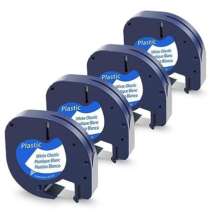 Wonfoucs 5 Pack Plastic Label Tape Cassettes Compatible Dymo