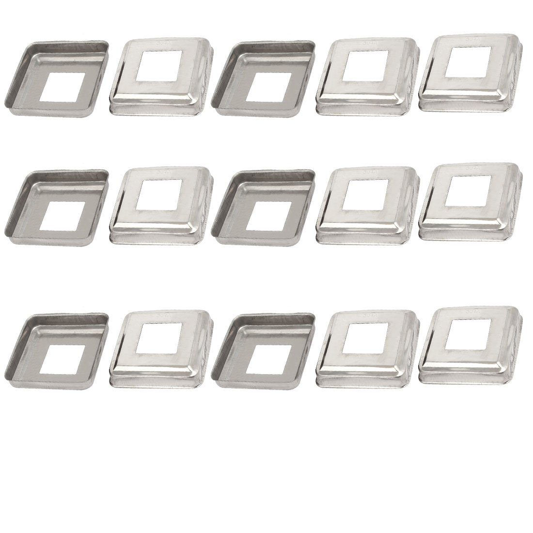 uxcell 15pcs Ladder Handrail Hand Rail 30mm x 30mm Post Plate Cover 304 Stainless Steel