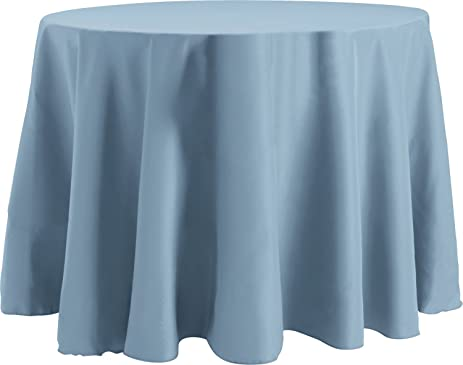 70 Inch Round Tablecloth, Flame Retardant Basic Polyester, Slate Blue