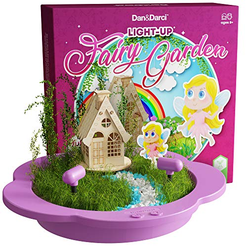 Light-up Fairy Garden Kit - Create, Plant & Grow a Magical Enchanted Light-up Fairy World - Everything Included - Great Craft STEM Gift for Kids (Kit Craft Garden)