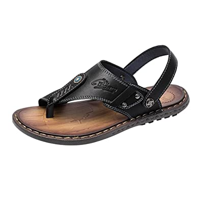 e01f5c155b49f2 Juleya Mens Leather Flip-Flop Sandals Two Wear Beach Home Summer Holiday  Thong Casual Flat