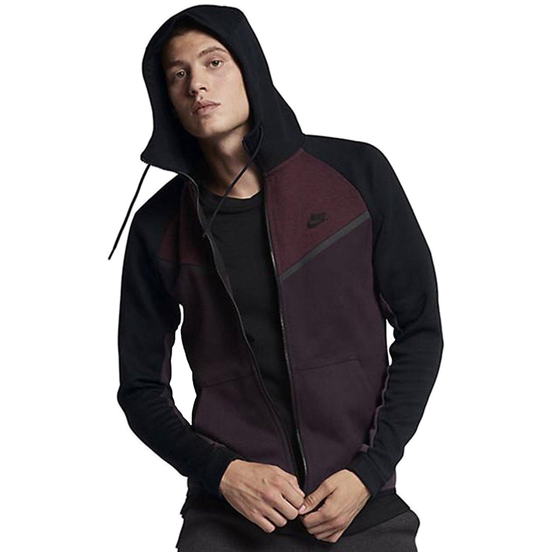 Nike Sportswear Tech Fleece Full Zip Windrunner Jacket (X-Small, Port Wine/Black-black)