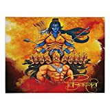 iPrint Rectangular Satin Tablecloth,Ethnic,Ethnic Festival Poster Inspired Design Holy Figures Mighty King Lord Arrows and Bow Decorative,Multicolor,Dining Room Kitchen Table Cloth Cover