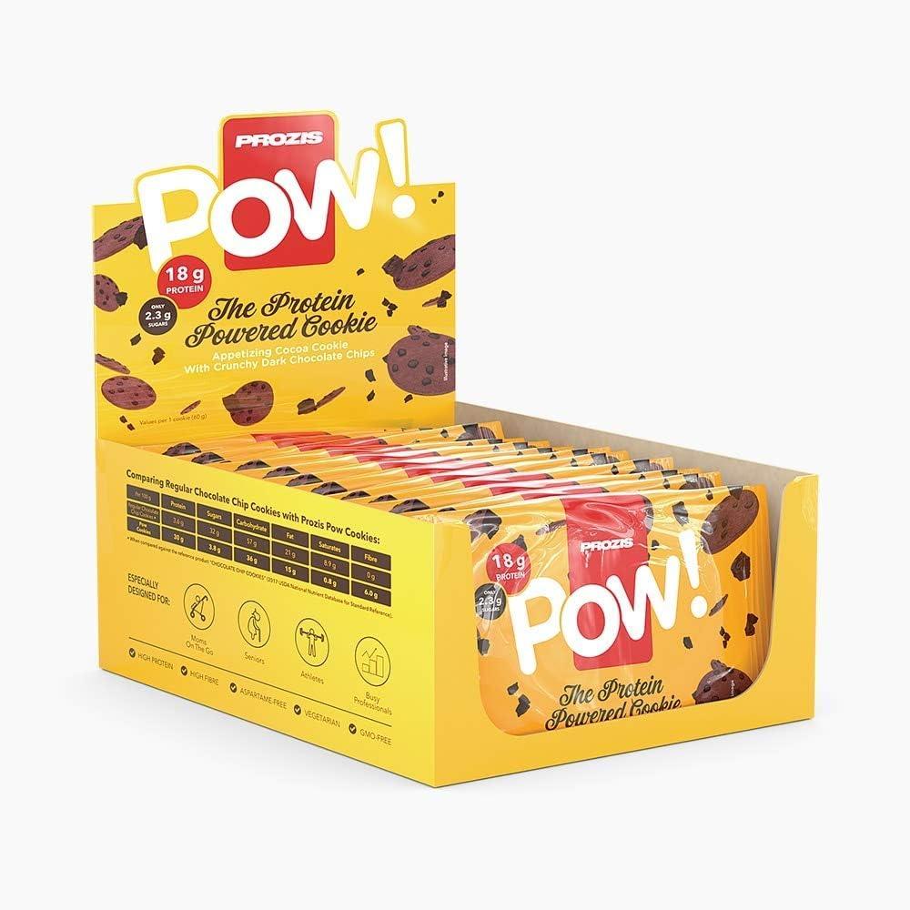 Prozis Pow Galleta de Proteínas, Chocolate negro - 12 Unidades de 30 g