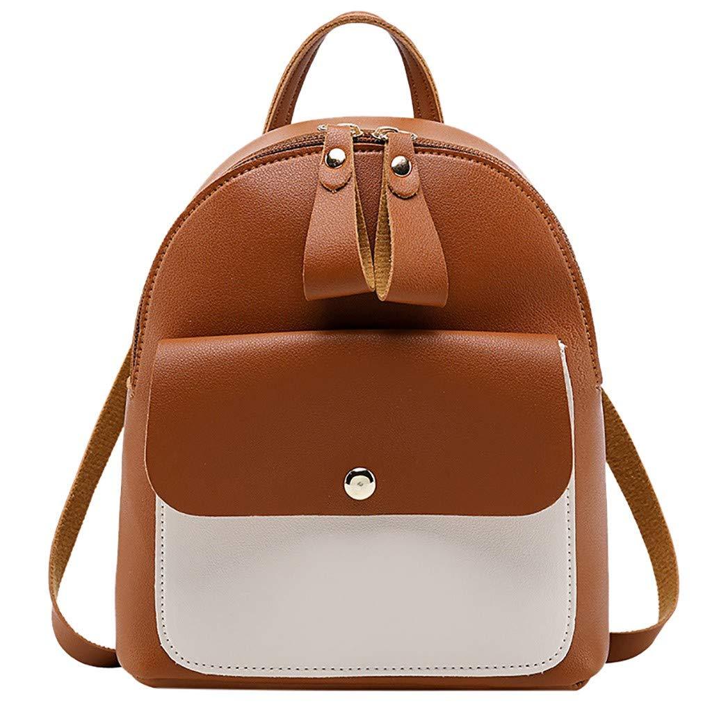Onefa Women Travel Backpack Travel Bag PU Backpack, Fashion Lady Shoulders Small Backpack Letter Purse Mobile Phone Messenger Bag (Brown)