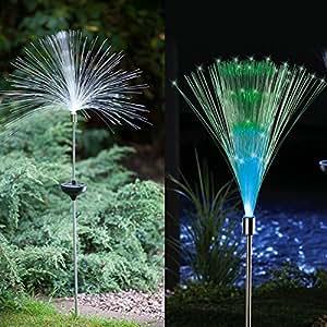 Sueño 2unidades Solar de fibra óptica de color cambiante luz estaca para jardín