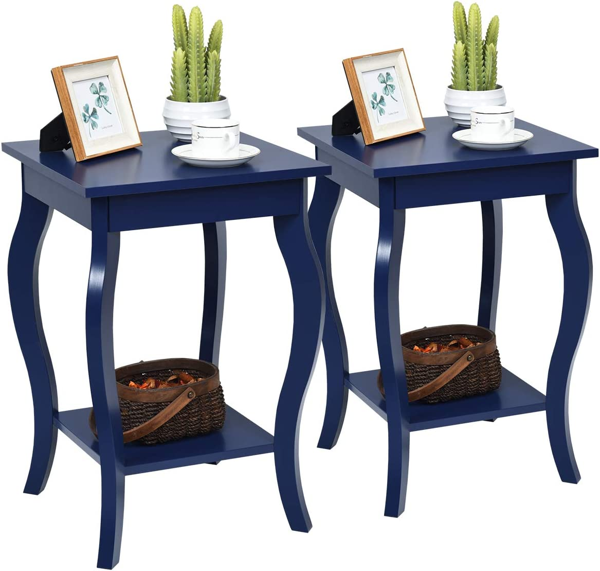 Giantex End Table 16 W Storage Shelf Curved Legs Home Furniture for Living Room Accent Sofa Side Table Nightstand 2, Blue