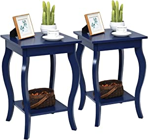 """Giantex End Table 16"""" W/Storage & Shelf Curved Legs Home Furniture for Living Room Accent Sofa Side Table Nightstand (2, Blue)"""