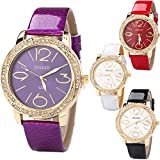 Yunanwa 4 Pack Women's Leather Watches Diamond Big Numbers Wholesale Assorted Wristwatch