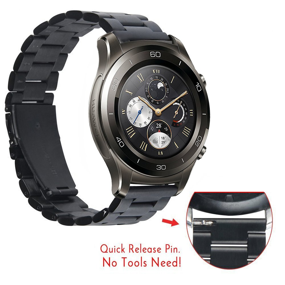 Huawei Watch 2 Classic - Titanium Grey Band, CBIN 22mm Solid Stainless Steel Metal Business Replacement Bracelet Strap for Huawei Watch 2 Classic Smartwatch - Titanium Grey (Metal Black) by Cbin (Image #4)