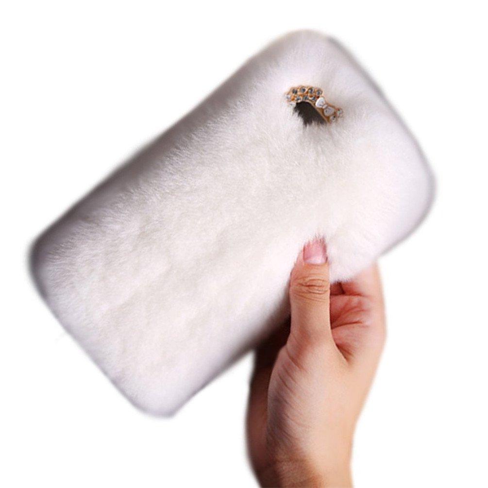 5.1 inch Samsung Galaxy S7 Soft Cover, Sammid Girls Xmas Gift Luxury Winter Soft Warm Faux Fur Case for Samsung Galaxy S7 - White