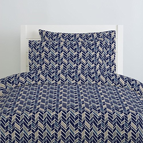(Carousel Designs Taupe and Windsor Navy Herringbone Duvet Cover Twin Size - Organic 100% Cotton Duvet Cover - Made in The USA)