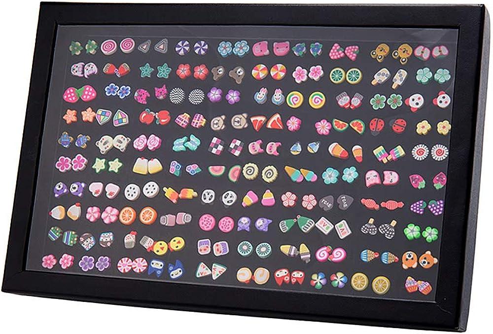 Pendientes para niñas, Comius 100 Pares Hecho a mano Hipoalergénico Color mezclado Cerámica suave Animales Pendientes de botón para Mujeres