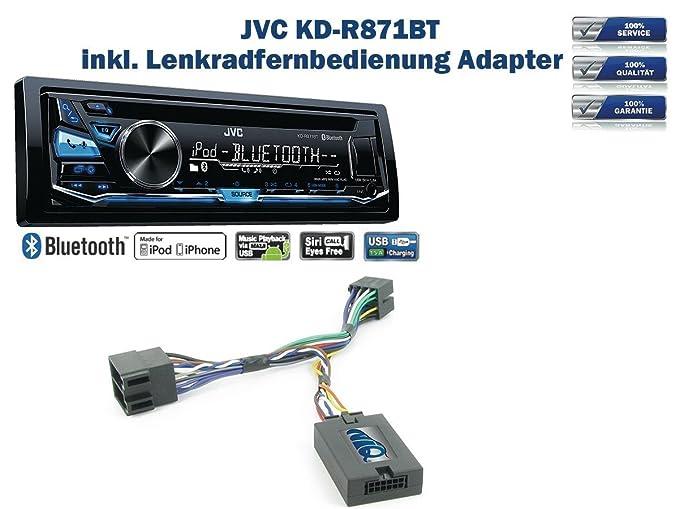 JVC KD-R871BT und Lenkrad Fernbedienung Adapter S-MAX uvm Focus C-MAX Ford Fiesta Autoradio Einbauset *Schwarz* inkl