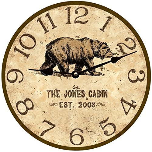 Clock Flies Wall Time - Personalized Bear Wall Clock- Personalized Bear Lodge Clock