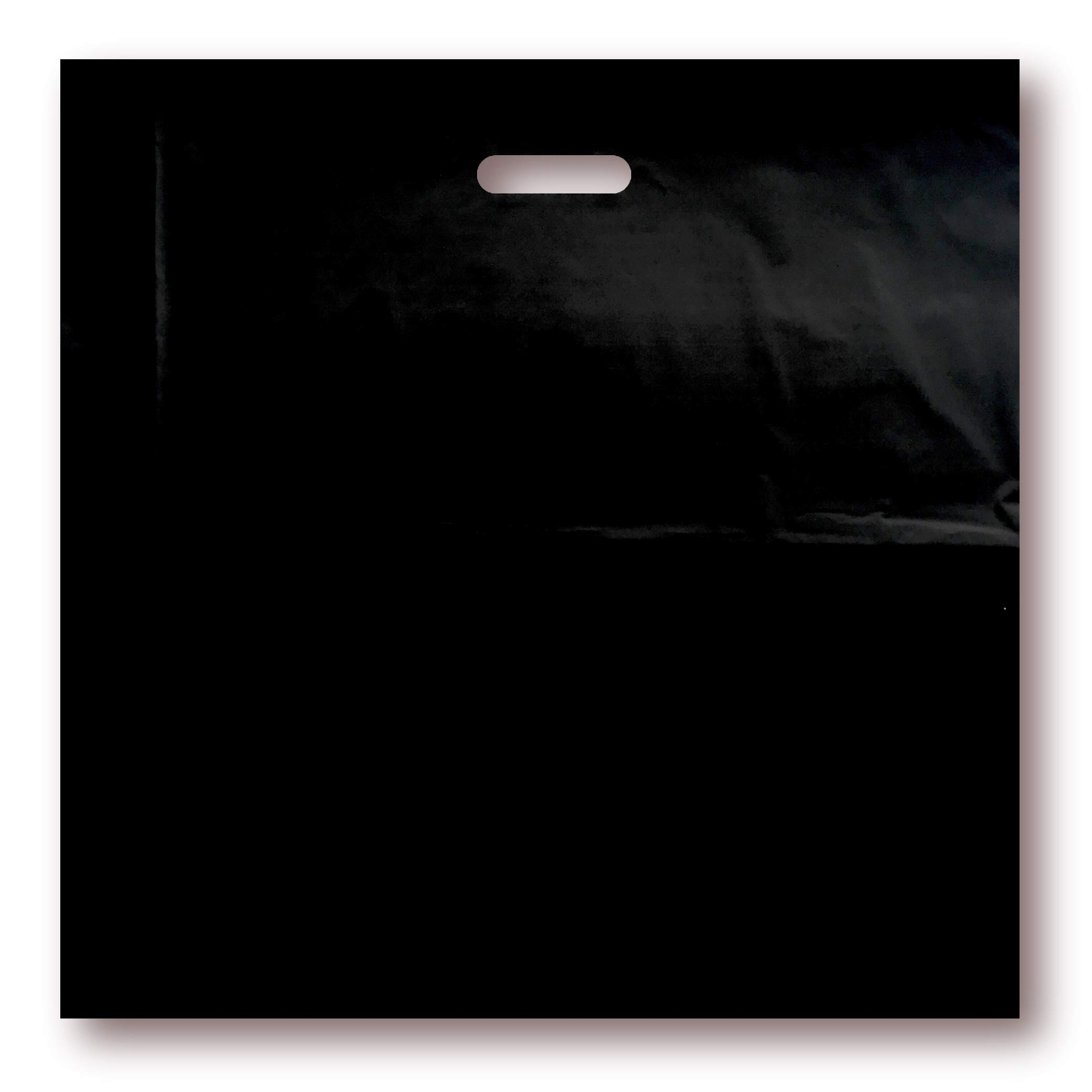 100 Pack 20'' x 20'' with 2 mil Thick Extra Large Black Merchandise Plastic Glossy Retail Bags | Die Cut Handles | Perfect for Shopping, Large Packages, Children Toys | Color Black | 100% Recyclable