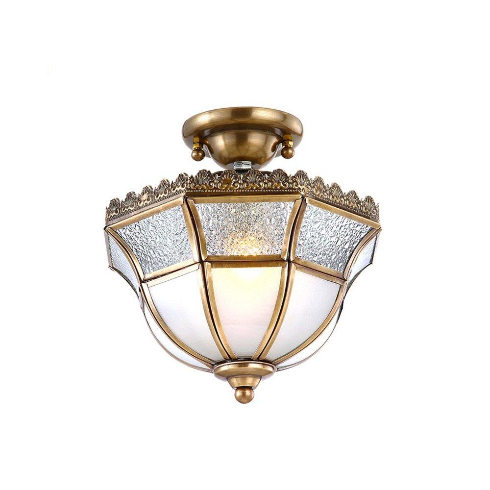 Antik Klassisch Deckenlampe, Retro Kupfer Leuchte, E27 Deckenleuchte, L22*H25 cm, Transparente Glas Zimmer Beleuchtung, für Wohnzimmer Schlafzimmer Esszimmer Flur Aisle Treppen