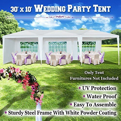 BenefitUSA Wedding Party Tent 10'x30' Easy Set Gazebo BBQ Pavilion Canopy Cater Events Outdoor Camping W/8 Sidewalls (Powder Coating Springs Palm)