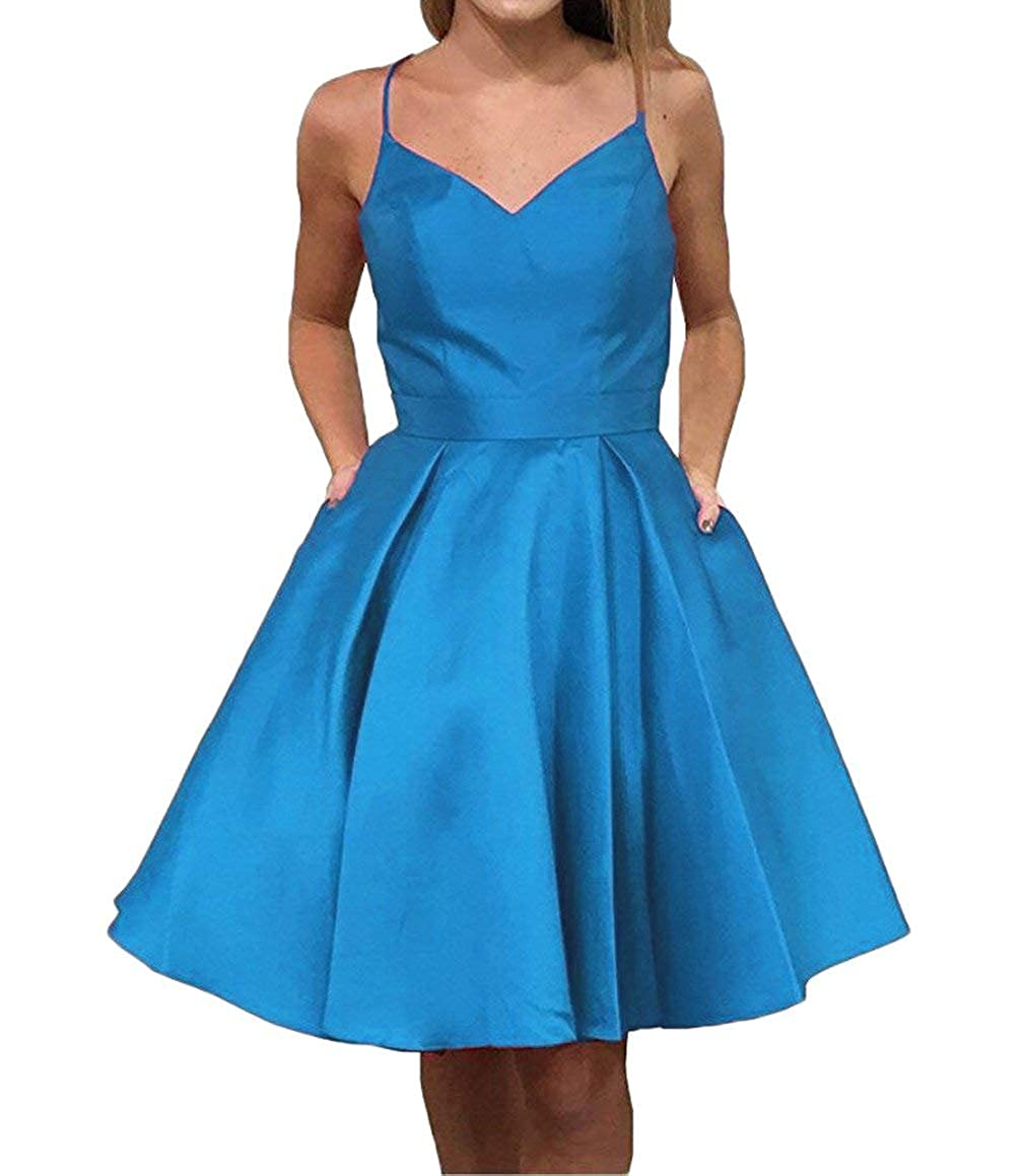 bluee JQLD Cute Straps Knee Length Homecoming Dresses Short Sleeveless Party Cocktail Dress with Pockets