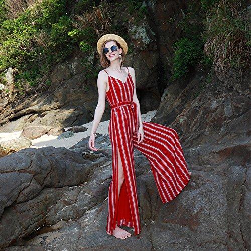 Vestido Casual Meizizivestido wine Playa MeiZiZi A Rayas Gasa De Noche Vestido Red Arnés Vestido g5fXqnE